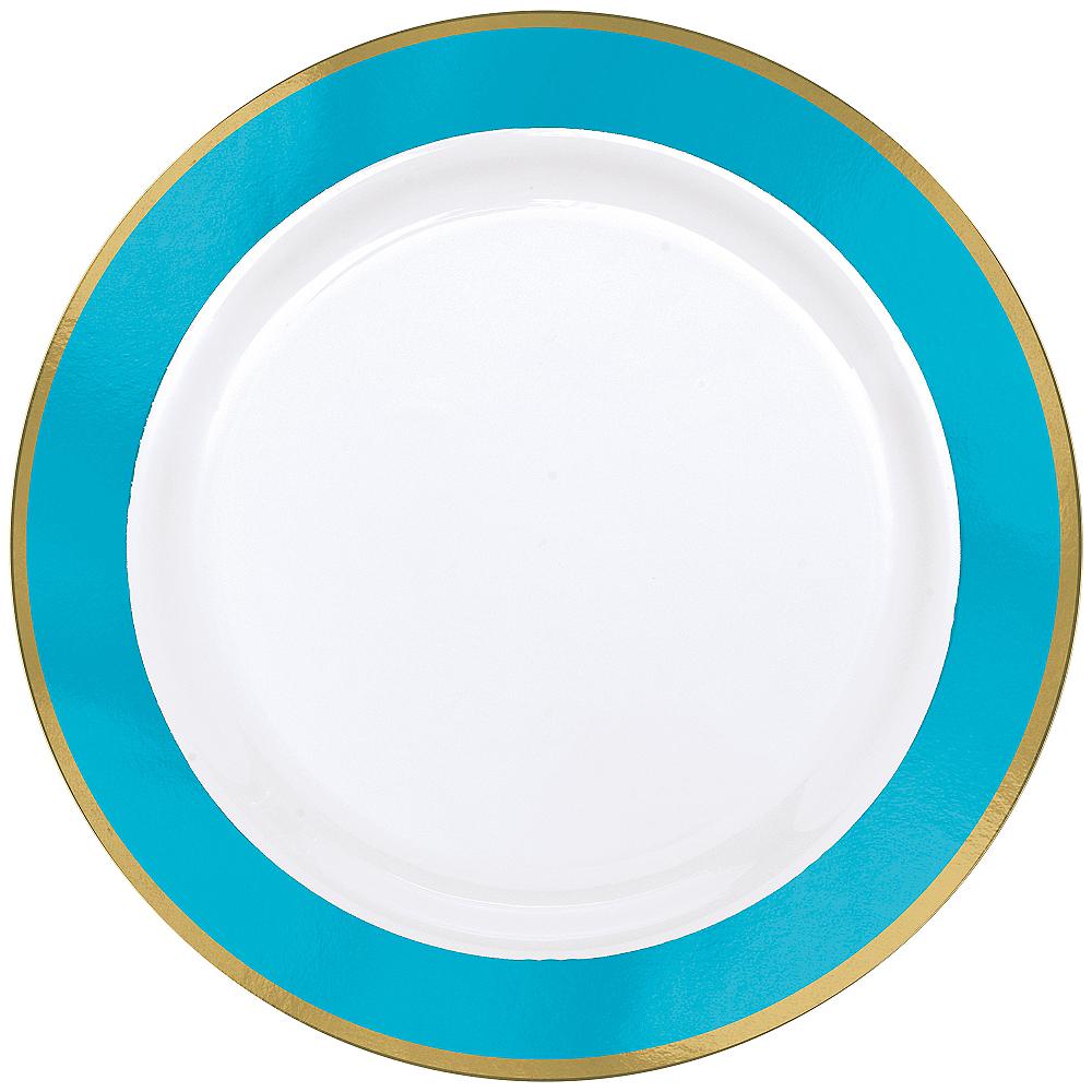 Gold & Caribbean Blue Border Premium Plastic Dinner Plates 10ct Image #1