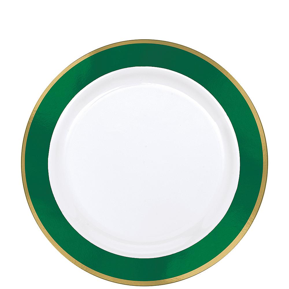 Gold & Festive Green Border Premium Plastic Lunch Plates 10ct Image #1
