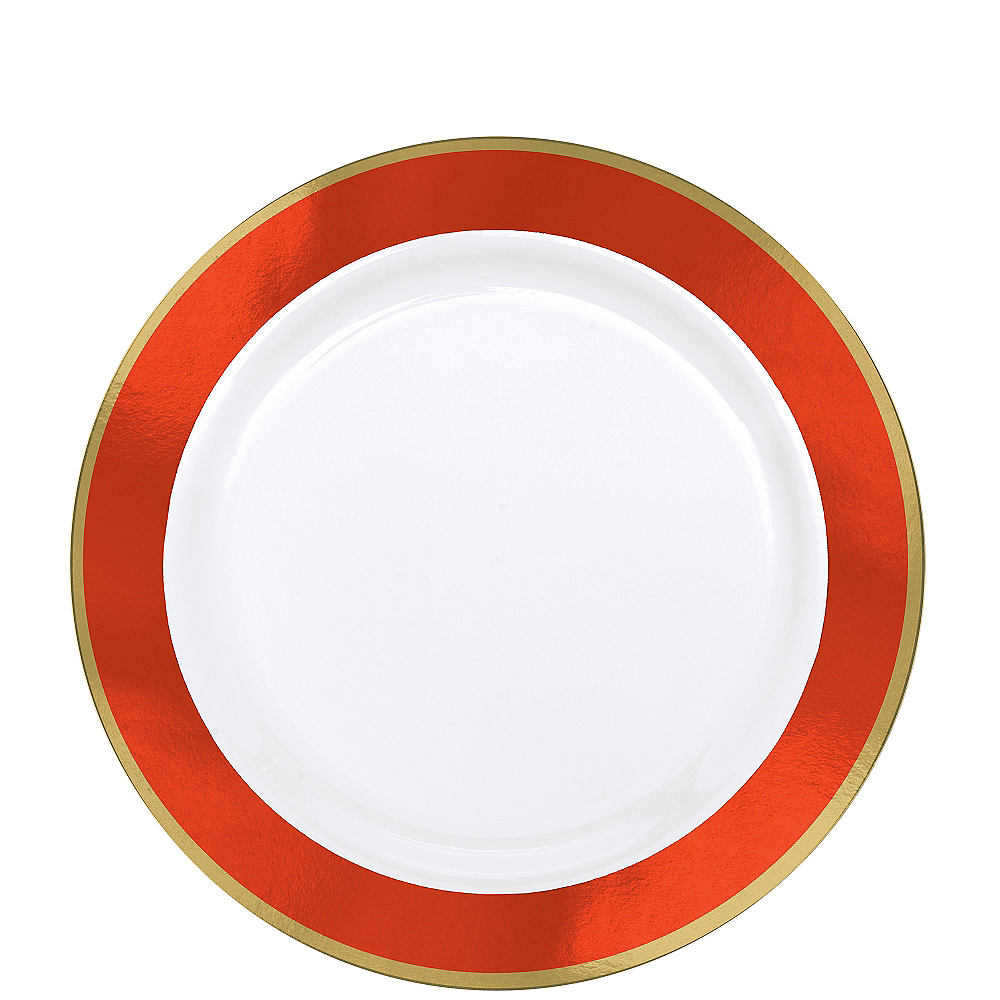 Gold & Orange Border Premium Plastic Lunch Plates 10ct Image #1