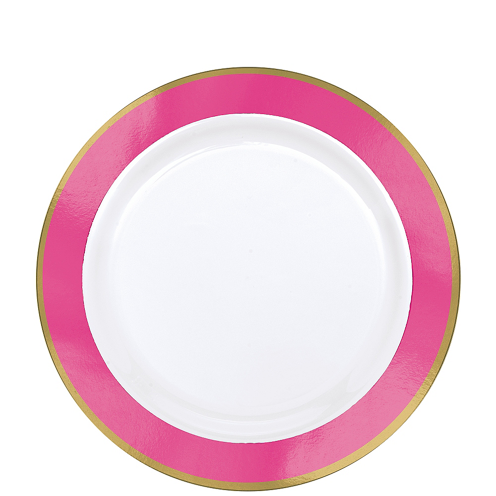 Gold & Bright Pink Border Premium Plastic Lunch Plates 10ct Image #1