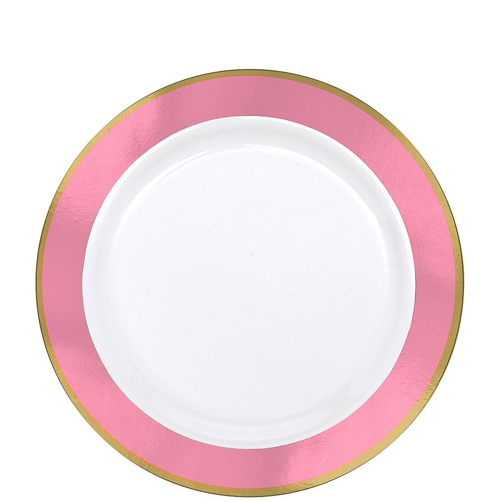 Gold & Pink Border Premium Plastic Lunch Plates 10ct Image #1
