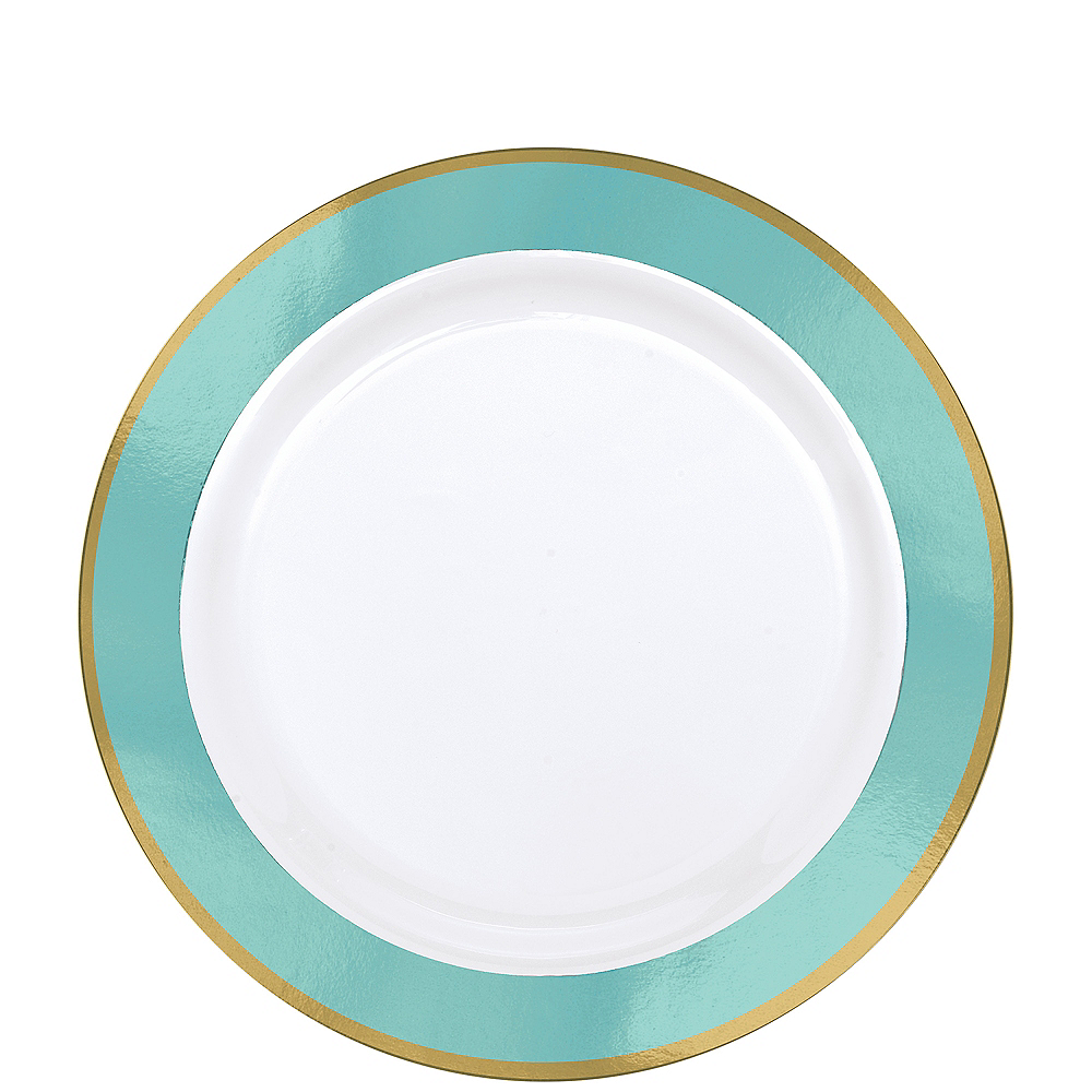 Gold & Robin's Egg Blue Border Premium Plastic Lunch Plates 10ct Image #1