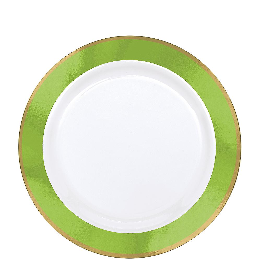 Gold & Kiwi Green Border Premium Plastic Lunch Plates 10ct Image #1