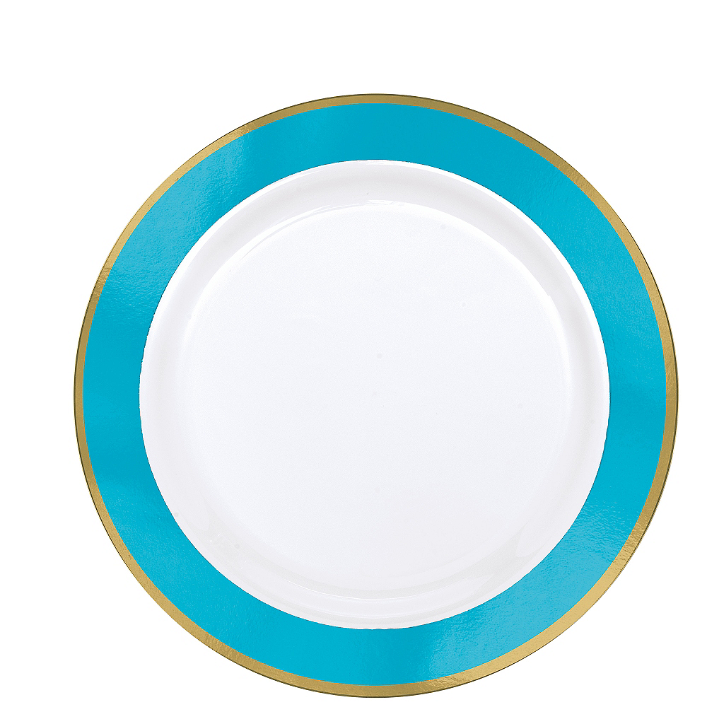 Gold & Caribbean Blue Border Premium Plastic Lunch Plates 10ct Image #1