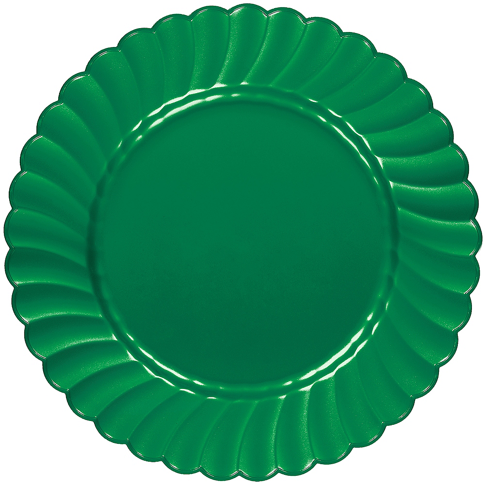 Nav Item for Festive Green Premium Plastic Scalloped Dinner Plates 12ct Image #1