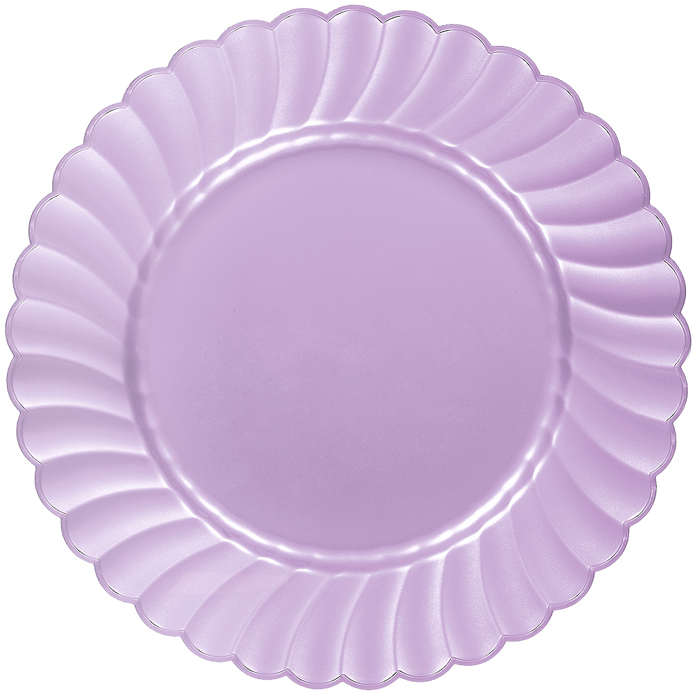 Lavender Premium Plastic Scalloped Dinner Plates 12ct Image #1