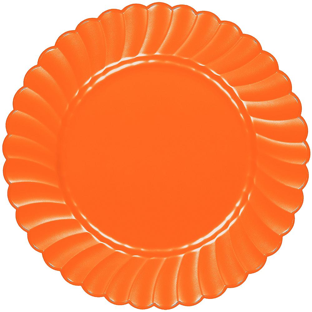 Orange Premium Plastic Scalloped Dinner Plates 12ct Image #1