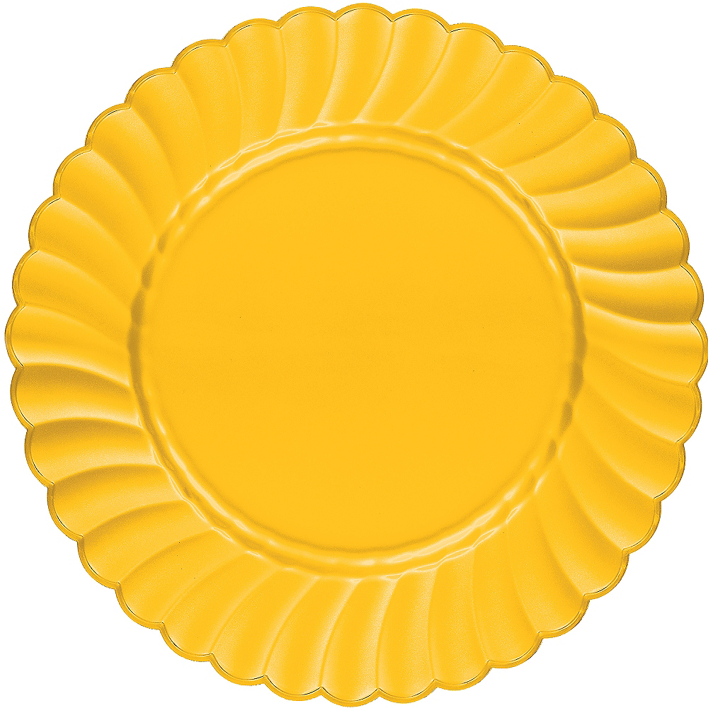 Sunshine Yellow Premium Plastic Scalloped Dinner Plates 12ct Image #1
