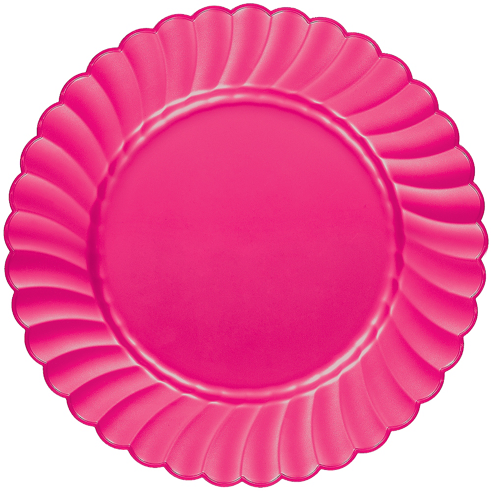 Bright Pink Premium Plastic Scalloped Dinner Plates 12ct Image #1