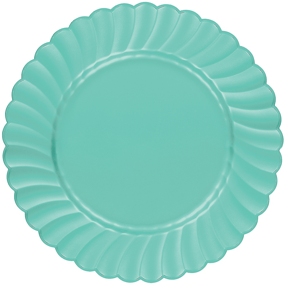 Robin's Egg Blue Premium Plastic Scalloped Dinner Plates 12ct Image #1