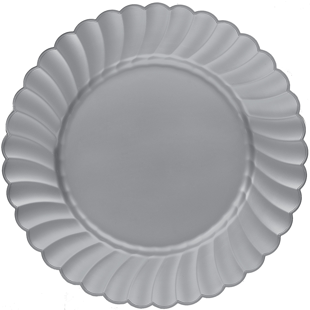 Silver Premium Plastic Scalloped Dinner Plates 12ct Image #1