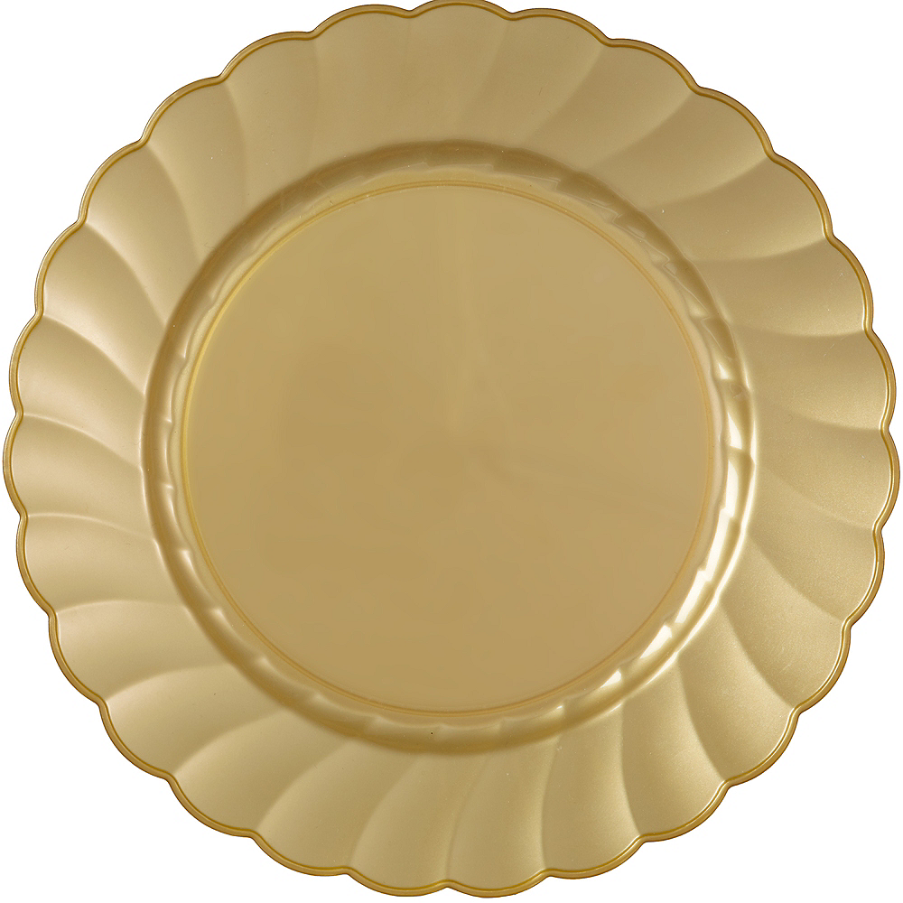 Gold Premium Plastic Scalloped Dinner Plates 12ct Image #1