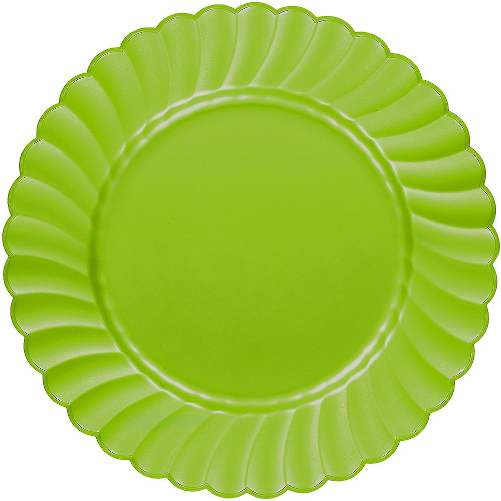 Kiwi Green Premium Plastic Scalloped Dinner Plates 12ct Image #1