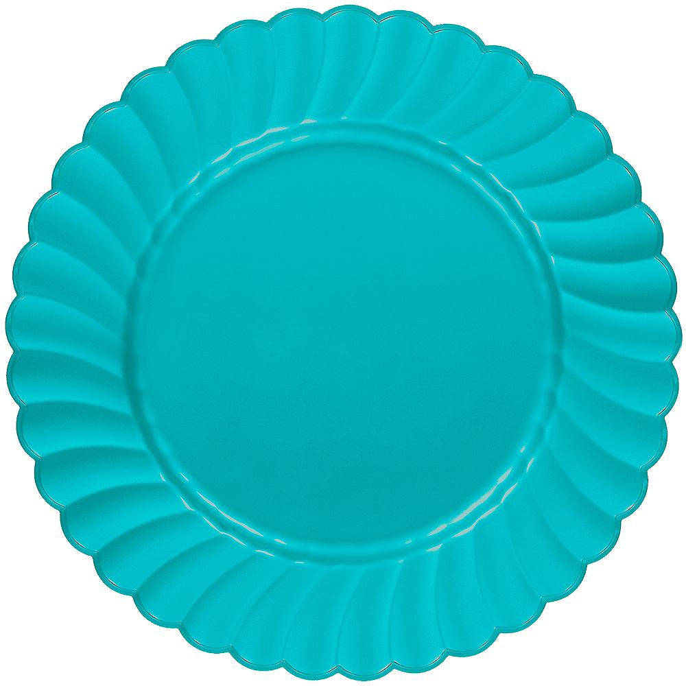 Caribbean Blue Premium Plastic Scalloped Dinner Plates 12ct Image #1