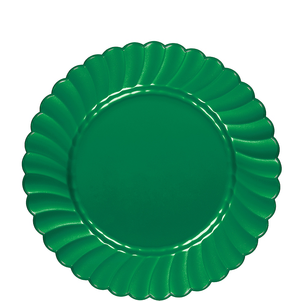 Festive Green Premium Plastic Scalloped Lunch Plates 12ct Image #1