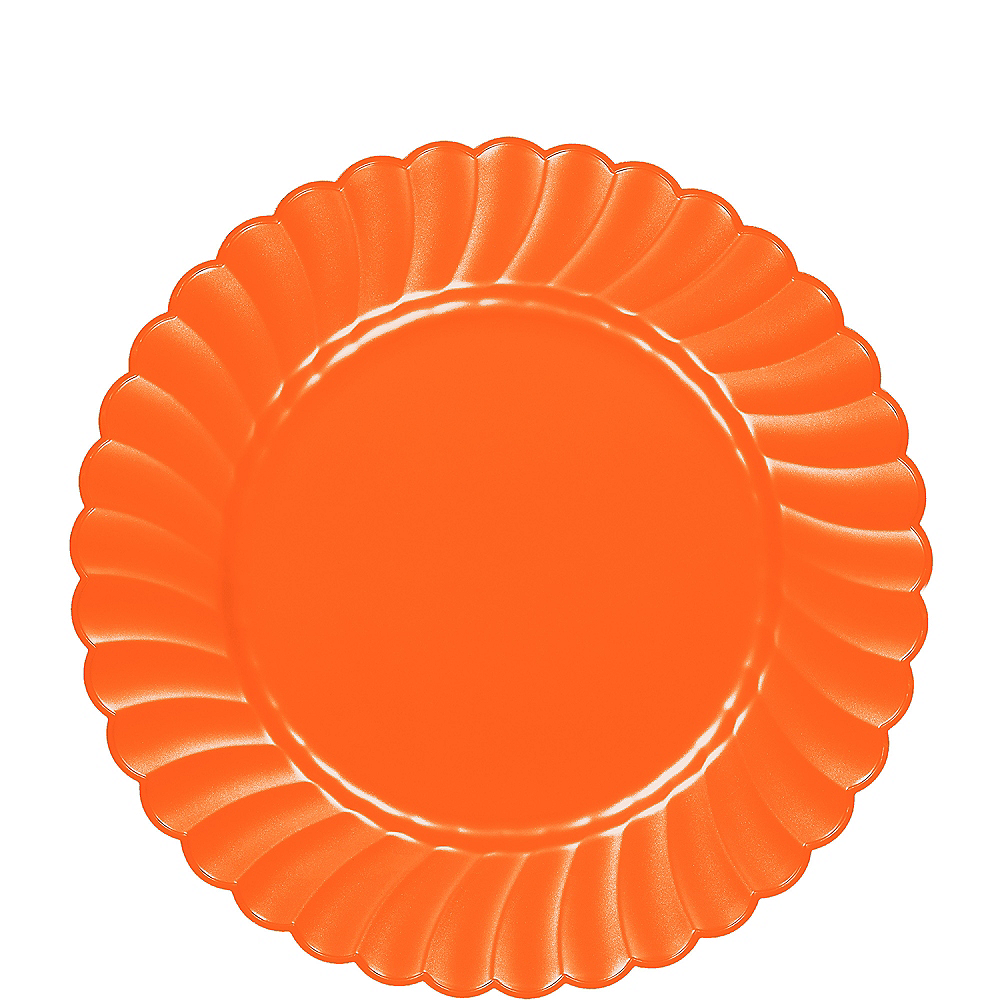 Orange Premium Plastic Scalloped Lunch Plates 12ct Image #1