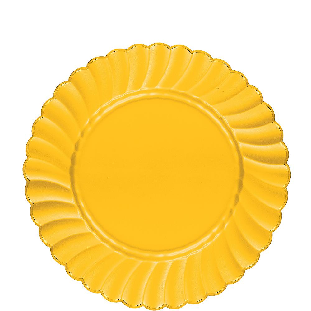 Sunshine Yellow Premium Plastic Scalloped Lunch Plates 12ct Image #1