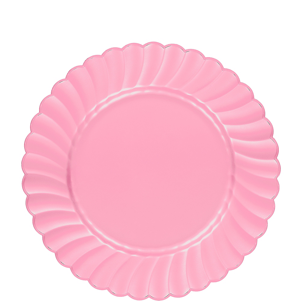 Pink Premium Plastic Scalloped Lunch Plates 12ct Image #1