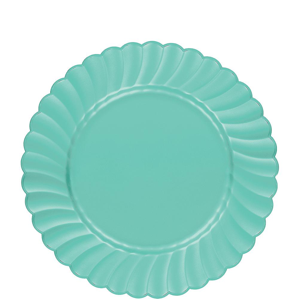 Robin's Egg Blue Premium Plastic Scalloped Lunch Plates 12ct Image #1