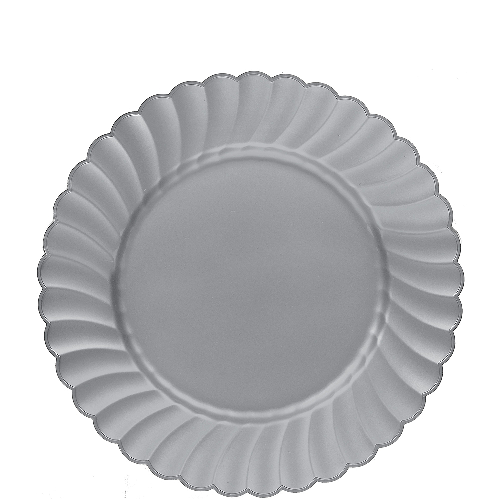 Silver Premium Plastic Scalloped Lunch Plates 12ct Image #1