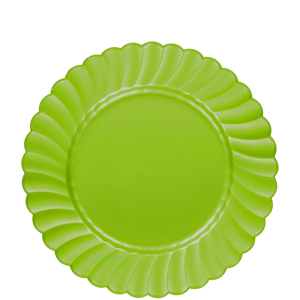 Kiwi Green Premium Plastic Scalloped Lunch Plates 12ct Image #1