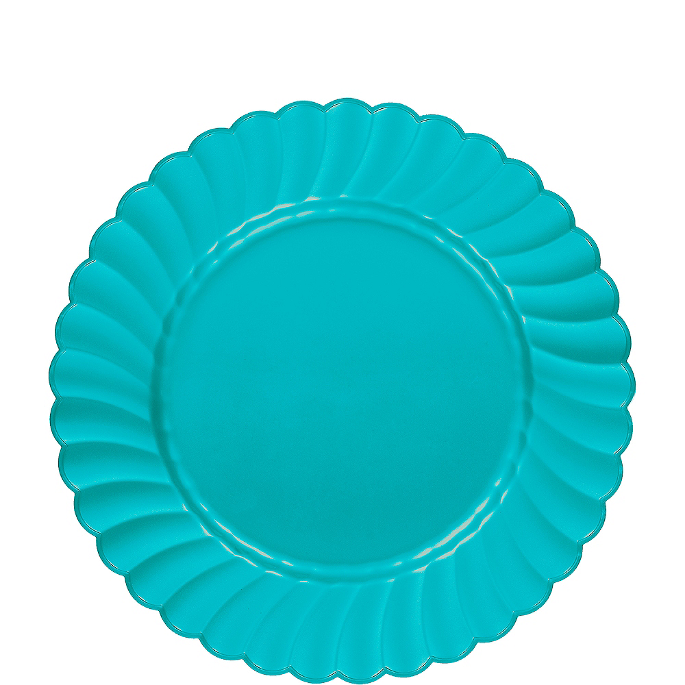 Nav Item for Caribbean Blue Premium Plastic Scalloped Lunch Plates 12ct Image #1