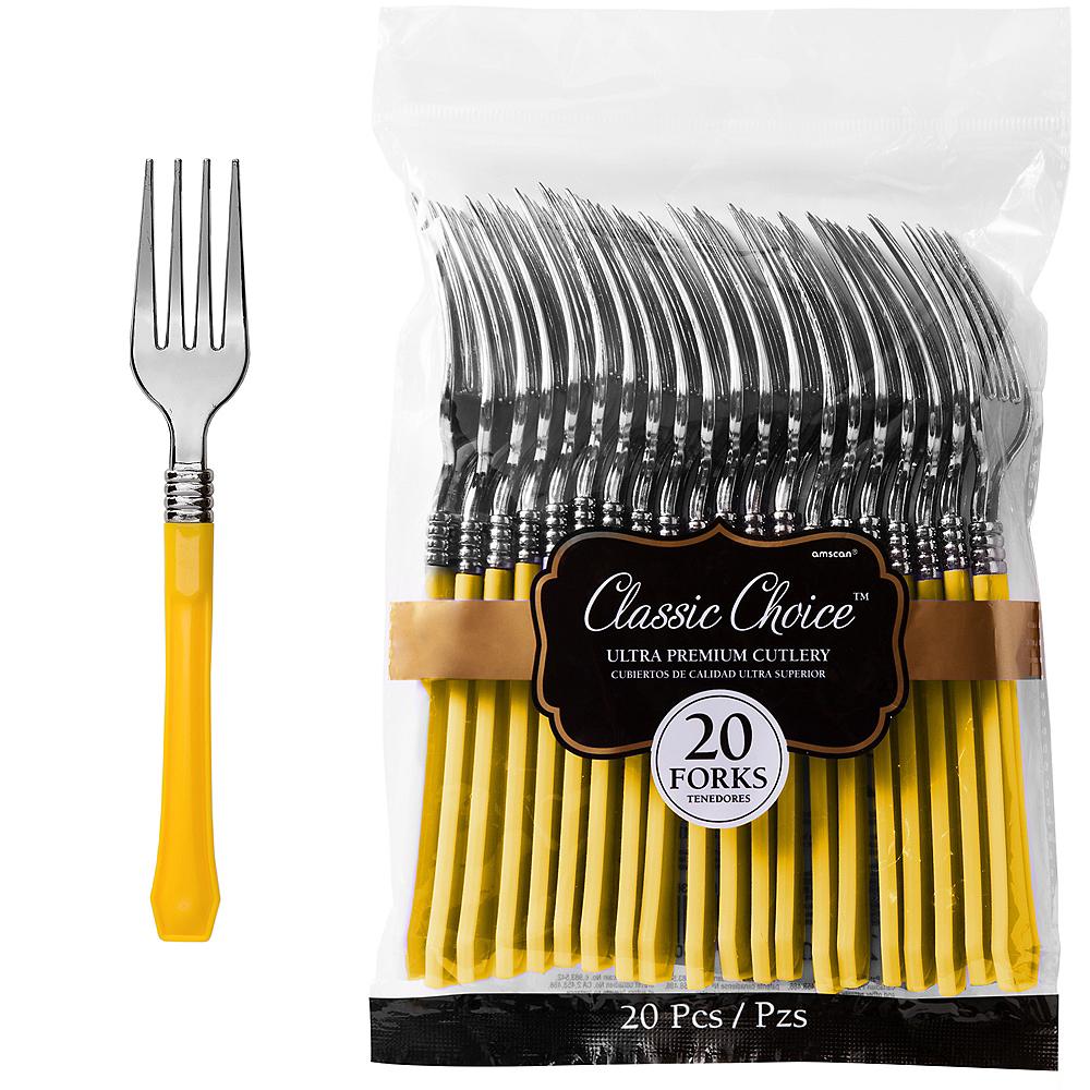 Classic Silver & Sunshine Yellow Premium Plastic Forks 20ct Image #1