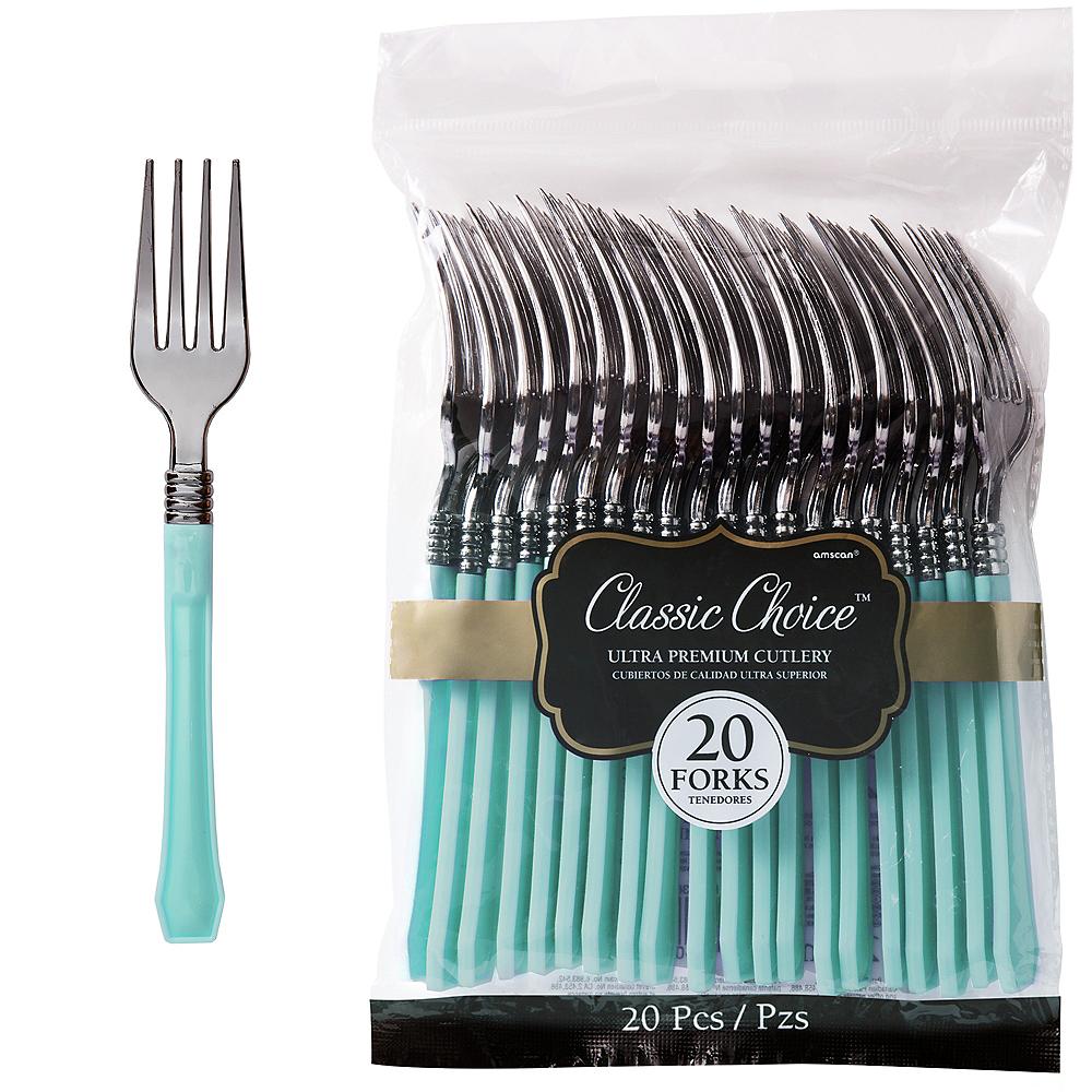 Classic Silver & Robin's Egg Blue Premium Plastic Forks 20ct Image #1