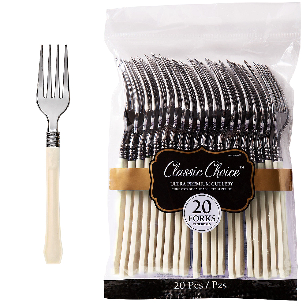 Classic Silver & Vanilla Premium Plastic Forks 20ct Image #1