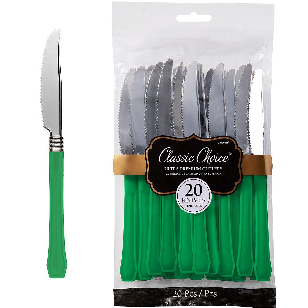 Classic Silver & Festive Green Premium Plastic Knives 20ct Image #1
