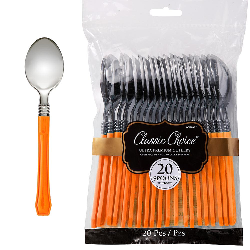 Classic Silver & Orange Premium Plastic Spoons 20ct Image #1