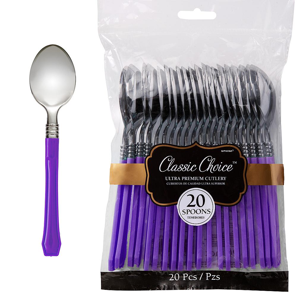 Classic Silver & Purple Premium Plastic Spoons 20ct Image #1