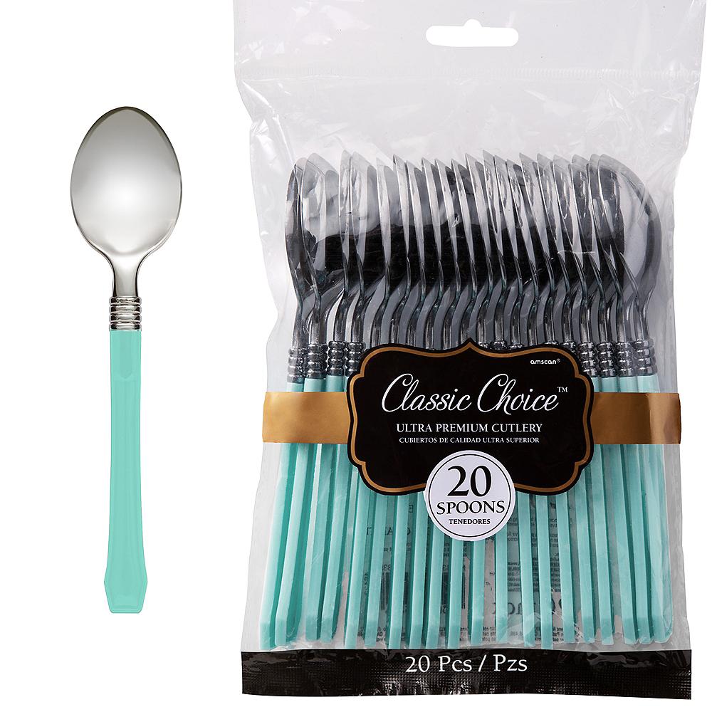 Classic Silver & Robin's Egg Blue Premium Plastic Spoons 20ct Image #1