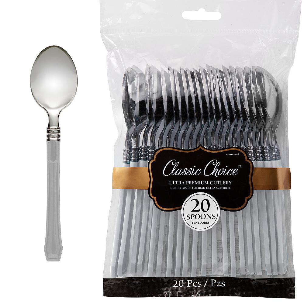 Classic Silver & Silver Premium Plastic Spoons 20ct Image #1