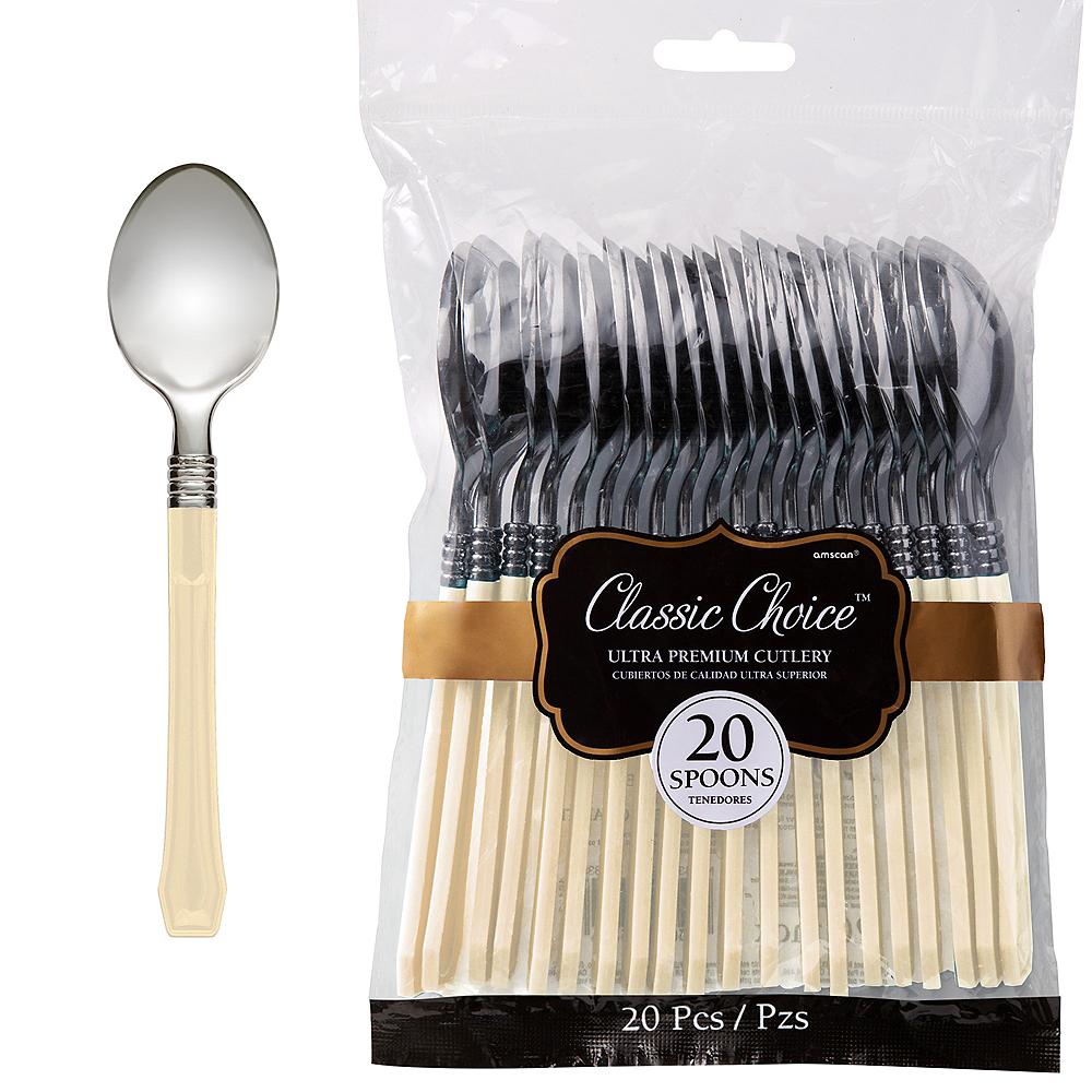 Classic Silver & Vanilla Premium Plastic Spoons 20ct Image #1