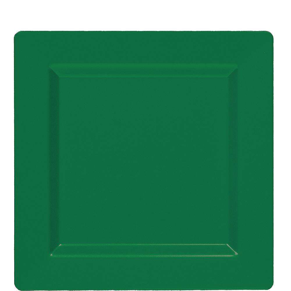 Festive Green Premium Plastic Square Lunch Plates 10ct Image #1