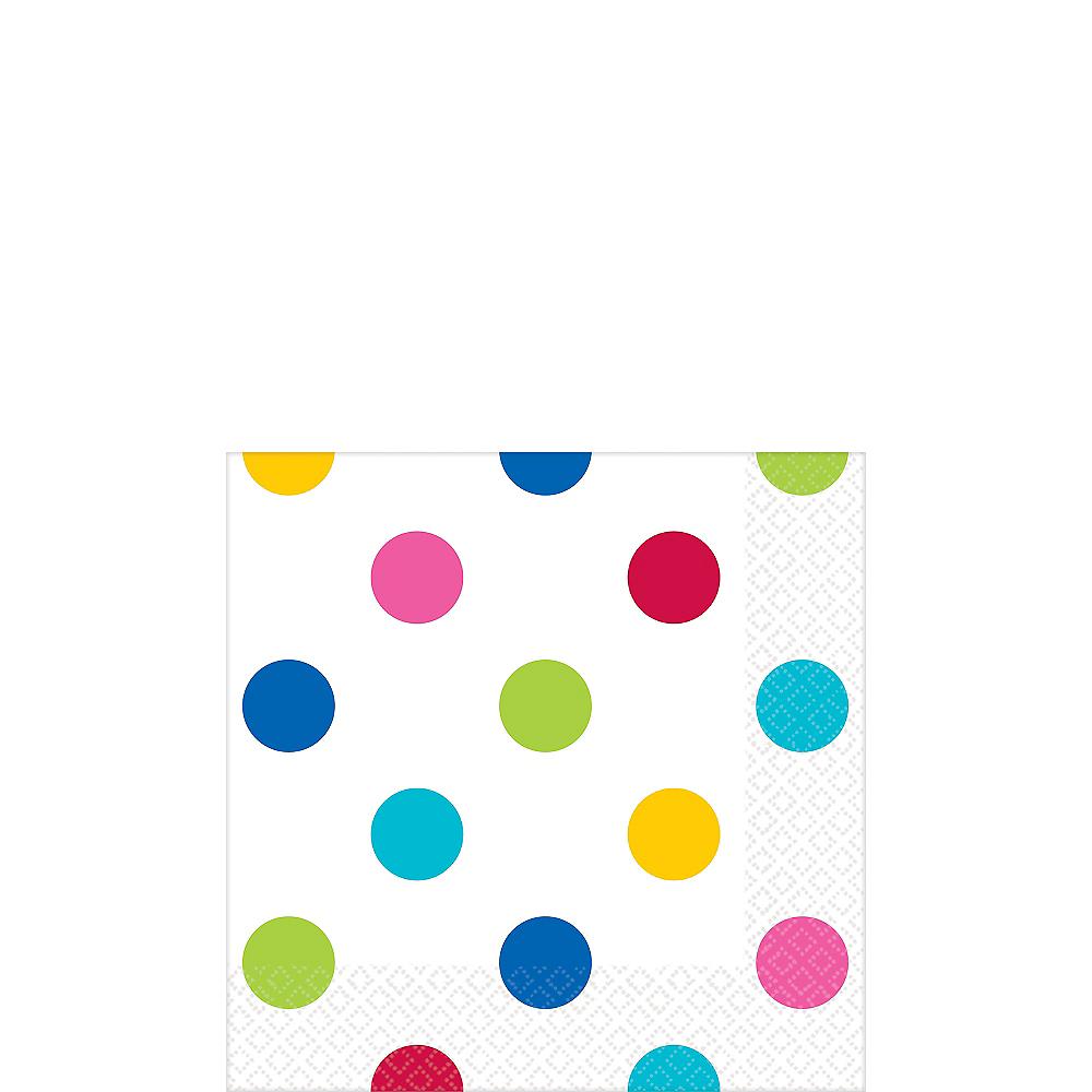 Bright Rainbow Polka Dot Beverage Napkins 16ct Image #1