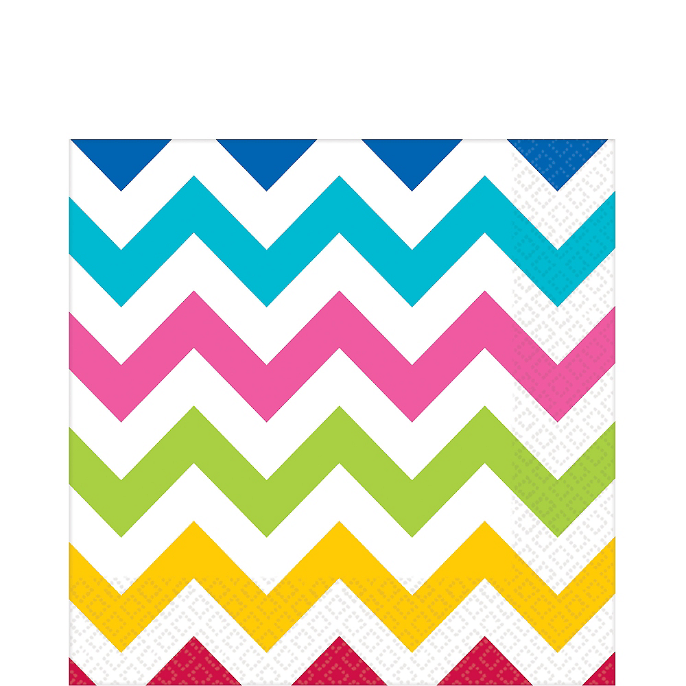 Nav Item for Bright Rainbow Chevron Lunch Napkins 16ct Image #1