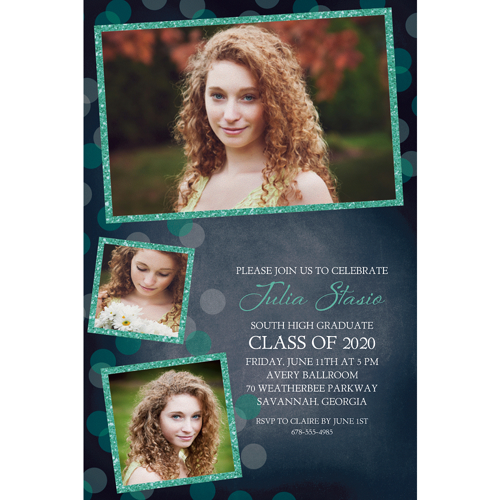 Custom Glitter Mint Frames & Dots Graduation Photo Invitation  Image #1