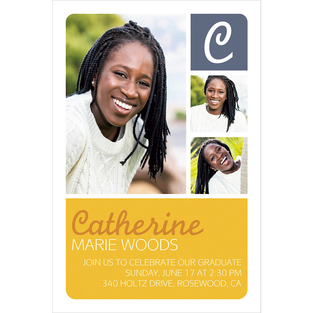 Custom Gold Color Block Initial Graduation Photo Invitation    Image #1
