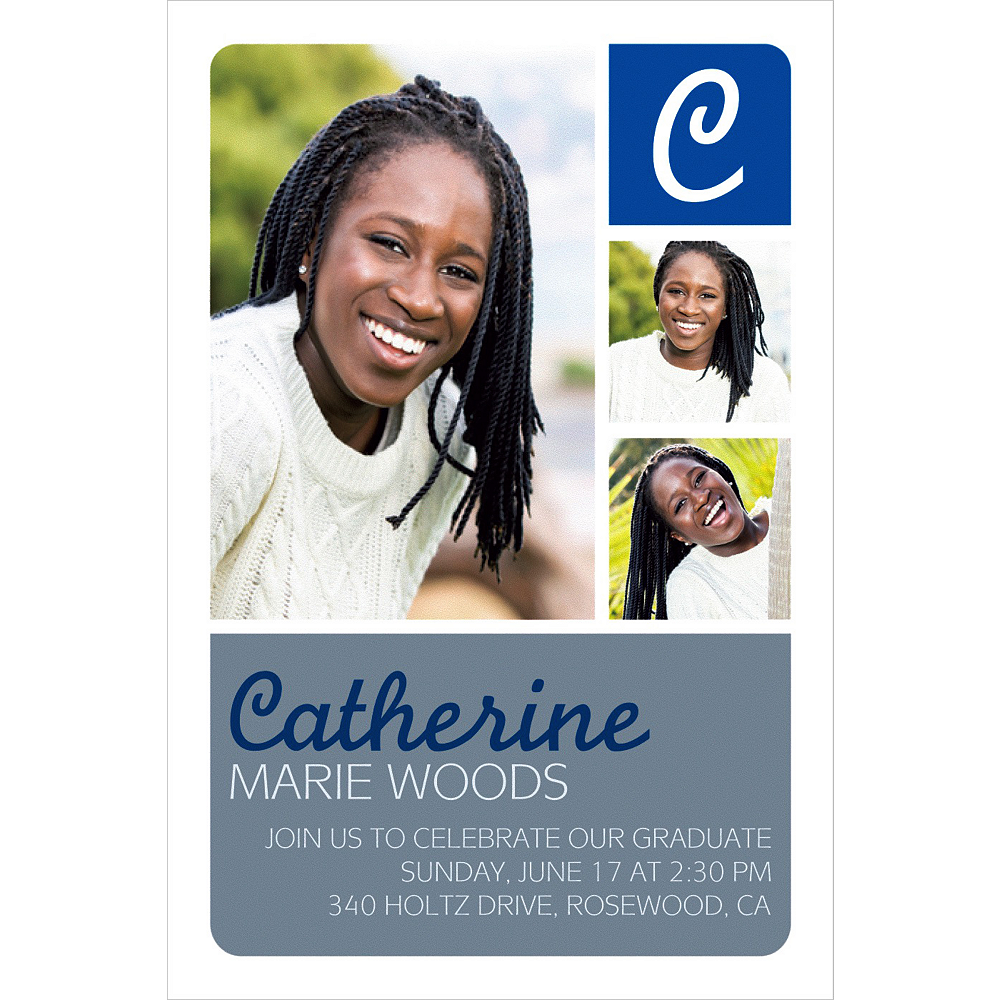 Custom Silver Color Block Initial Graduation Photo Invitation     Image #1