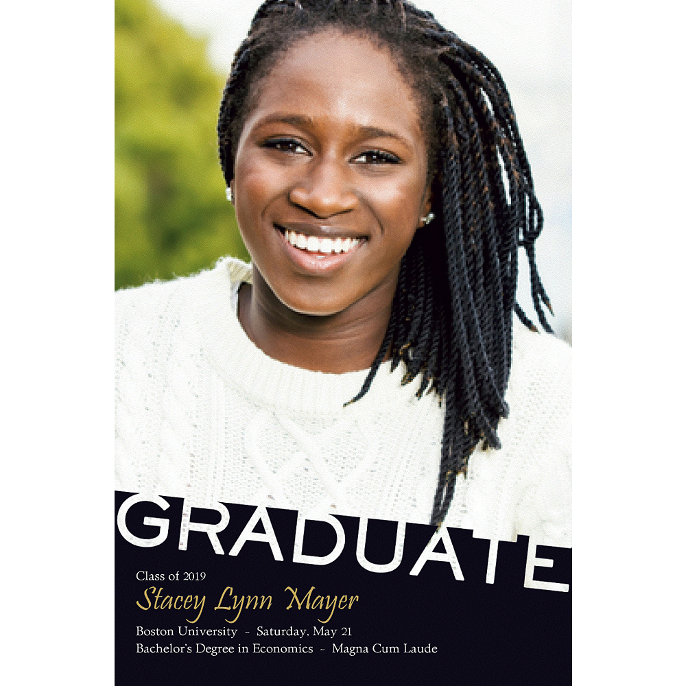 Custom Graduate Black Slant Photo Announcement  Image #1