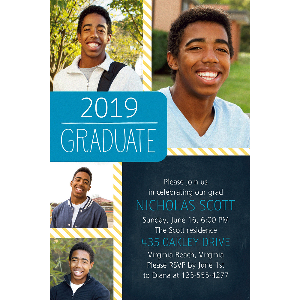 Custom Blue & Yellow Stripes Graduation Collage Photo Invitation  Image #1