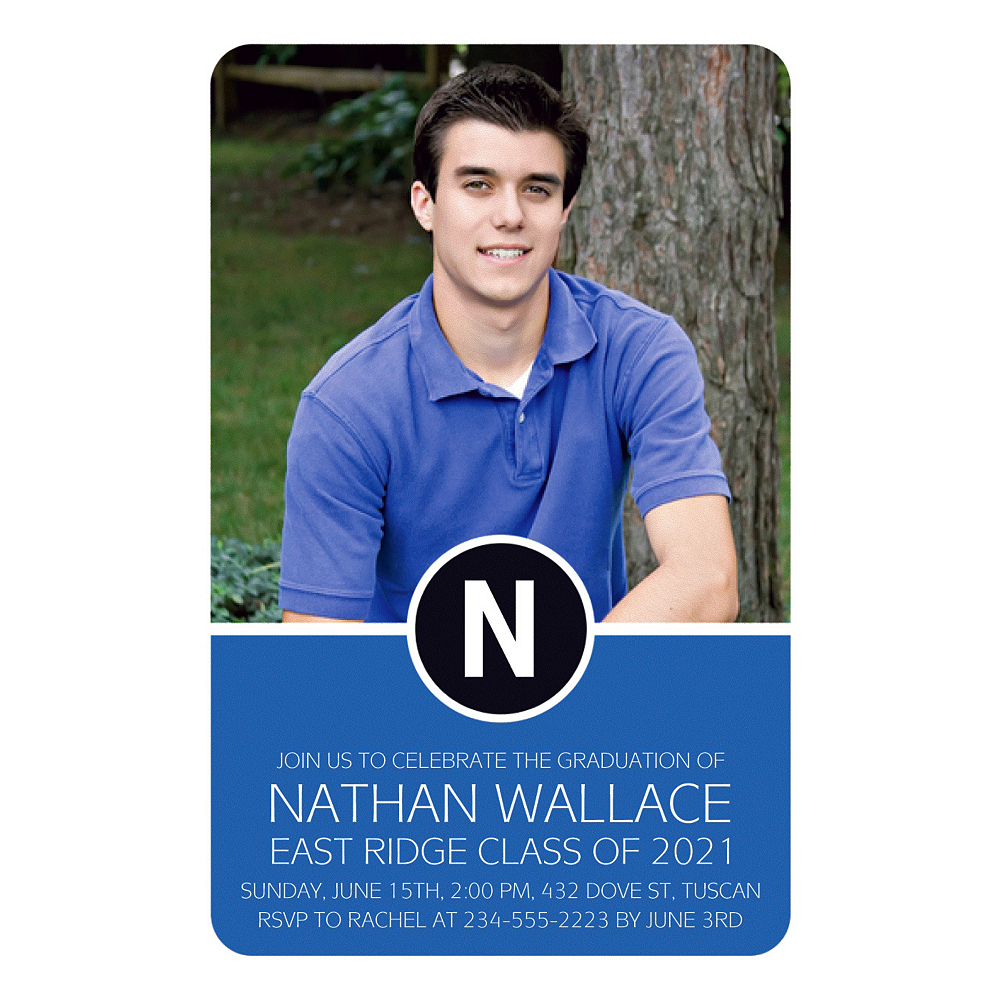 Custom Royal Blue Block Initial Graduation Photo Invitation    Image #1