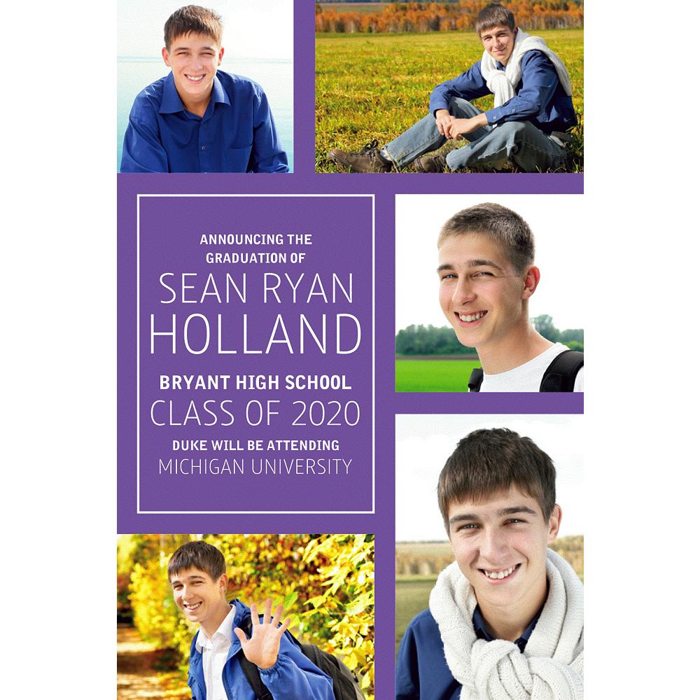Custom Classic Purple Collage Graduation Photo Announcement  Image #1