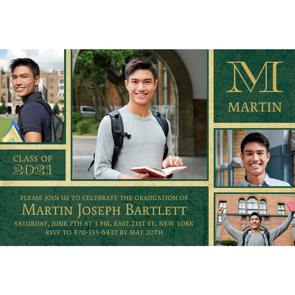 Nav Item for Custom Gold & Green Textured Graduation Collage Photo Invitation    Image #1