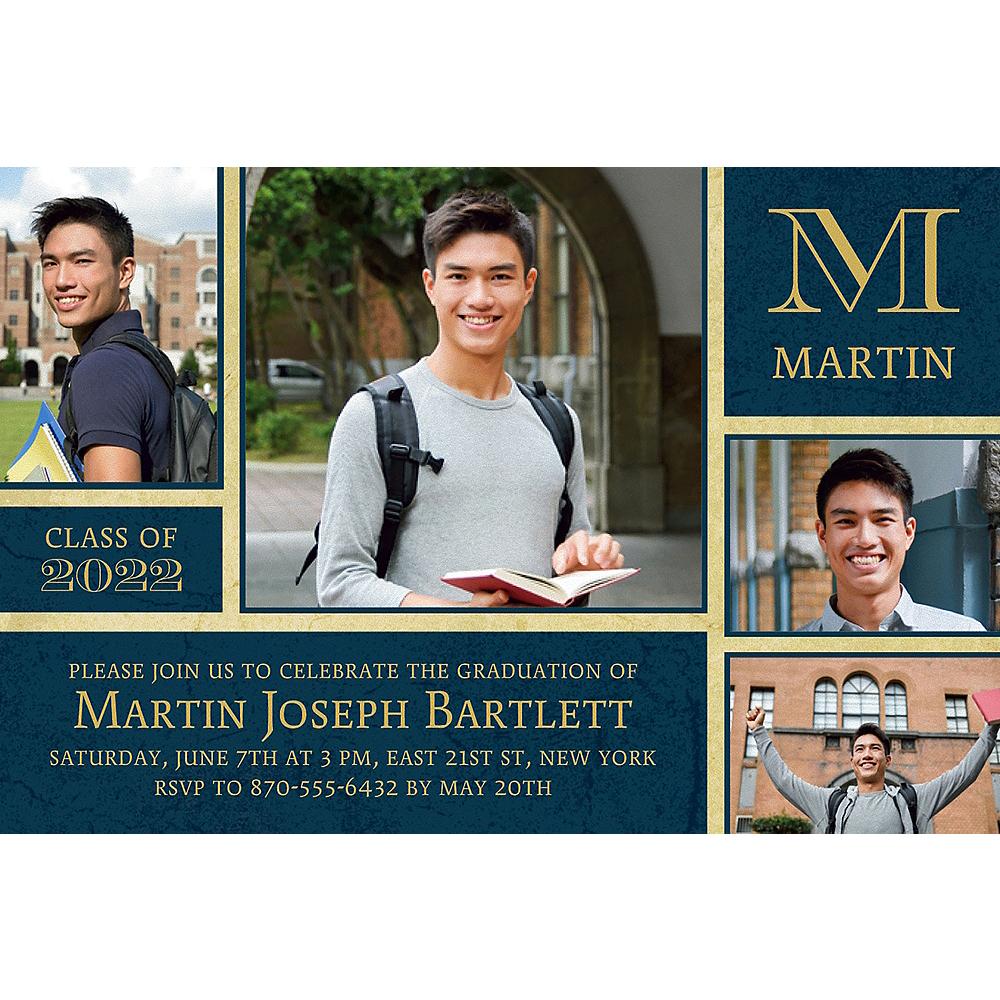 Custom Gold & Navy Textured Graduation Collage Photo Invitation  Image #1