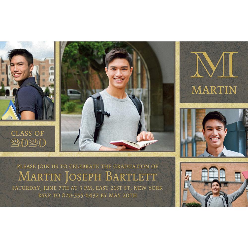 Custom Gold & Gray Textured Graduation Collage Photo Invitation  Image #1