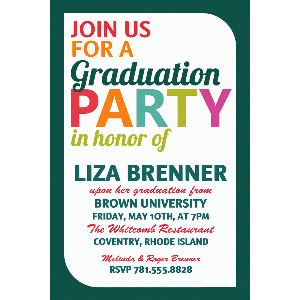 Custom Bright Grad Text Invitation    Image #1