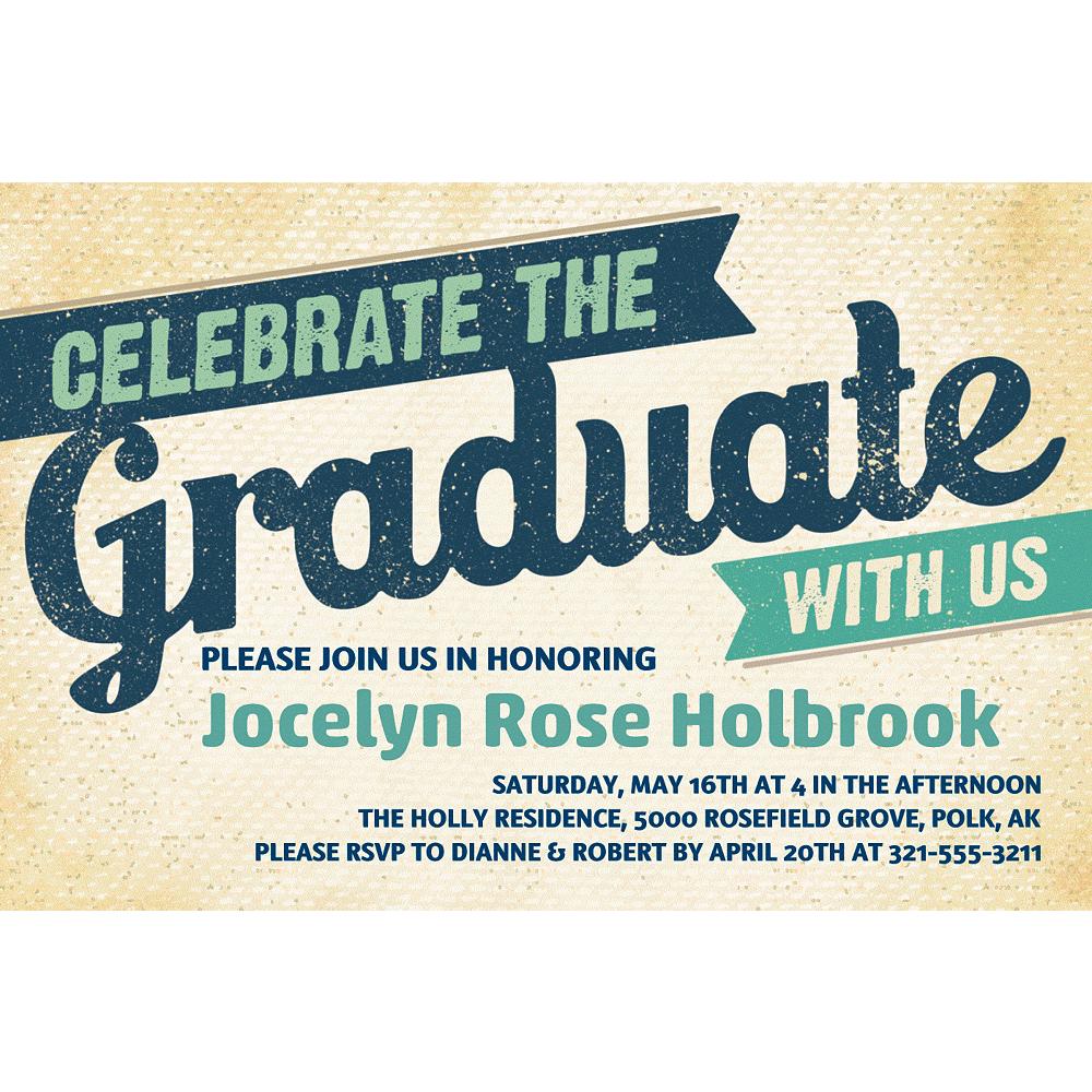 Custom Retro Graduation Invitation  Image #1